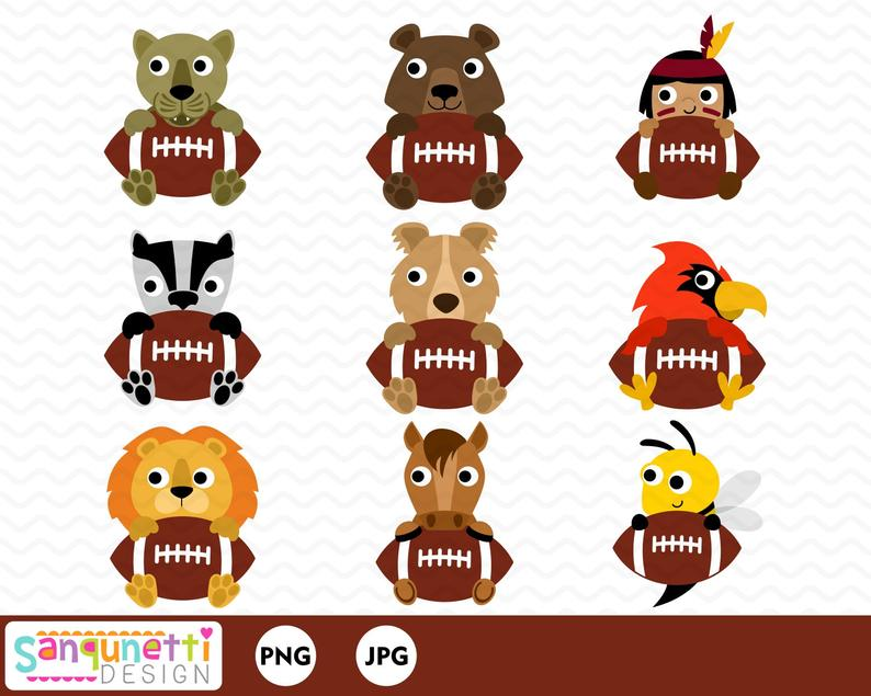 Football mascot clipart, sports digital art, animal graphics for football  instant download.