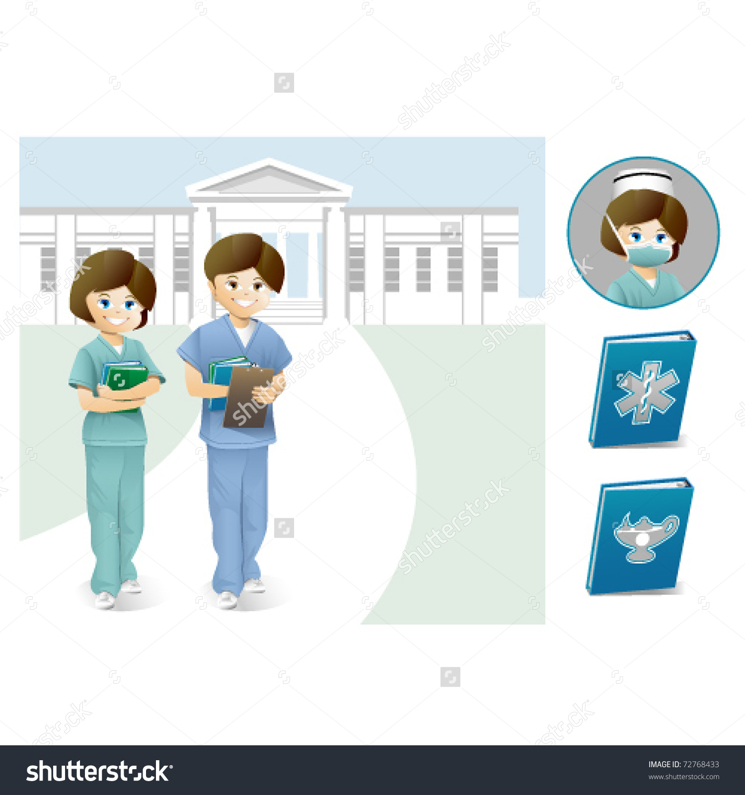 Male Female Nurse Students Front College Stock Vector 72768433.