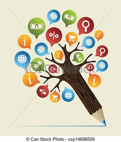 Clipart Vector of Research studies concept pencil tree.