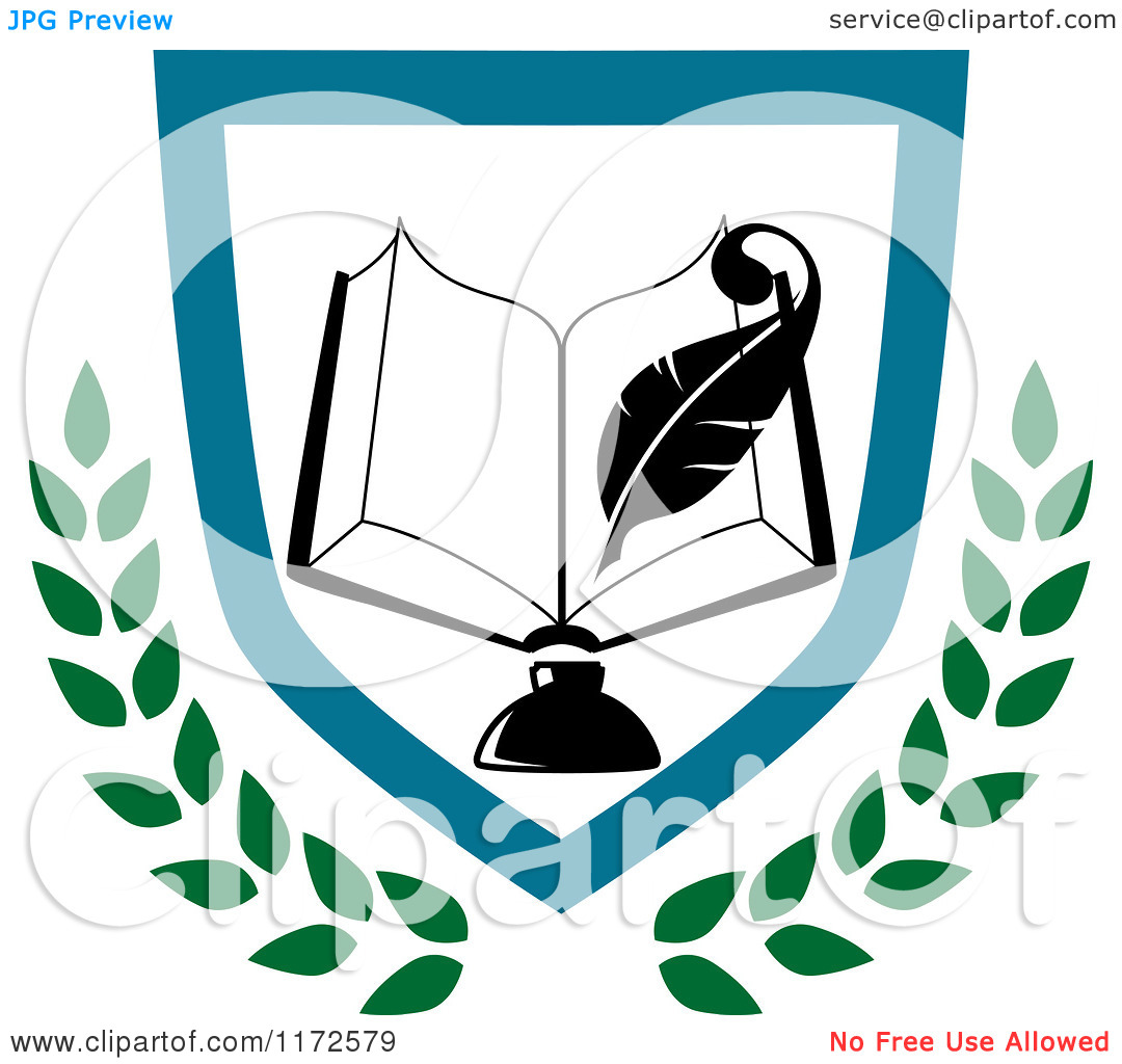 Clipart of a University or College Book and Ink Well with Pen.