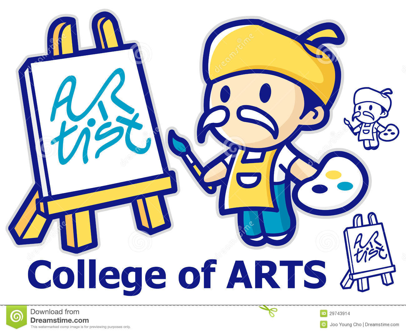The Painter Is Painting The Canvas. College Of Fine Arts Mascot.