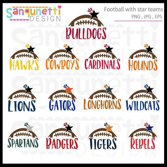 Football Teams clipart, football clipart, college football, football teams,  sports clipart, instant download.