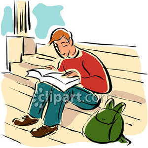 College Student Studying Clipart.