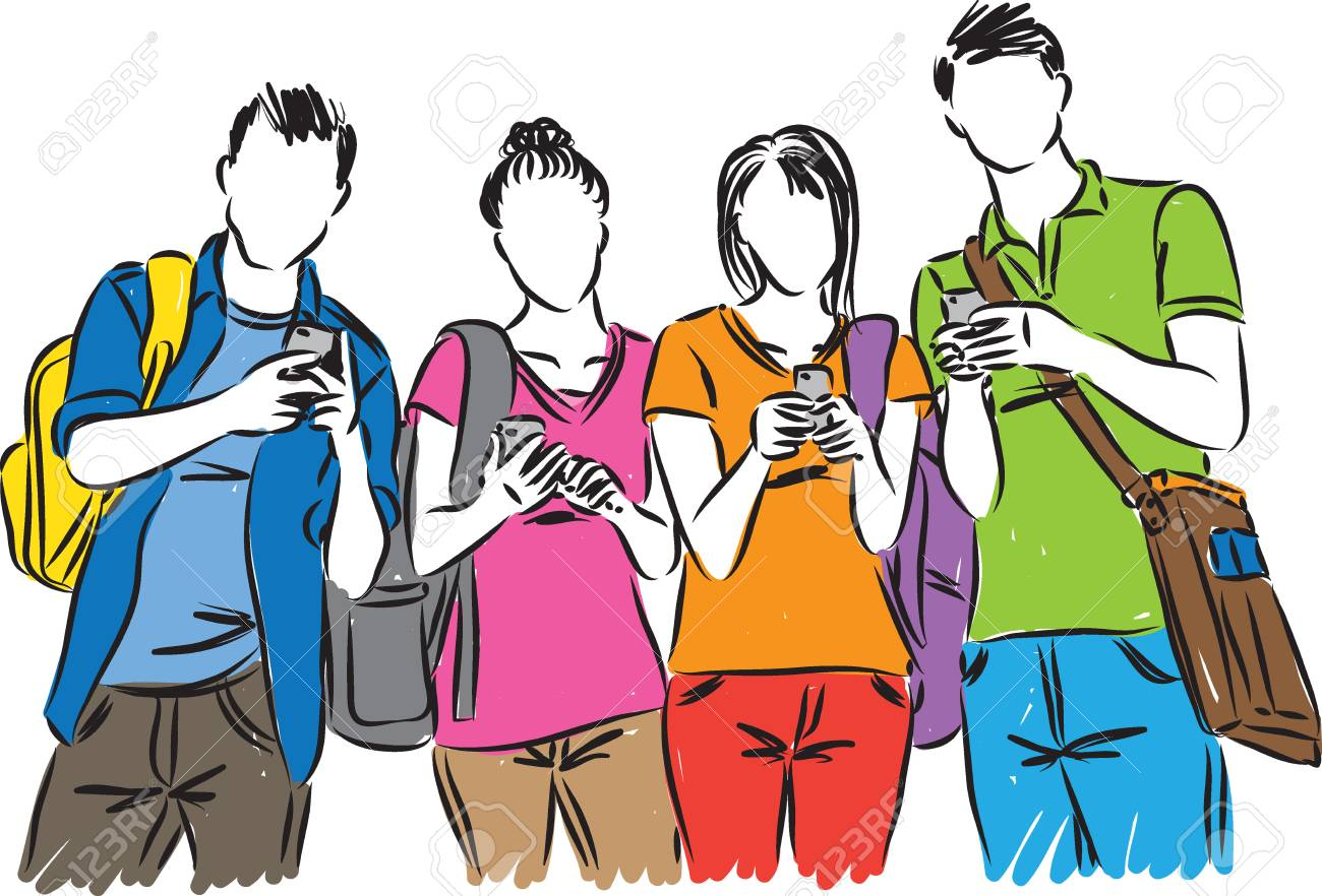 college students with cellphones vector illustration.
