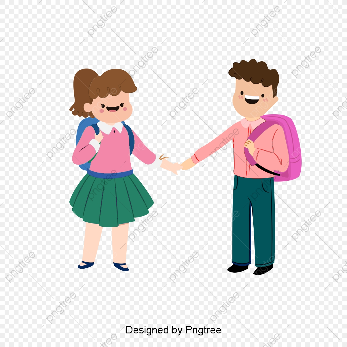 Male And Female Cartoon College Students, Cartoon Clipart, The Man.