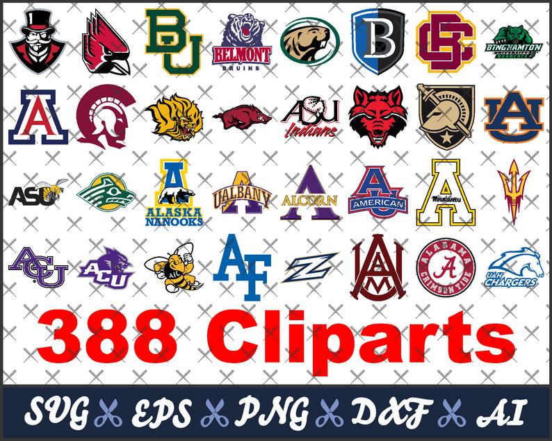 College svg bundle, 388 college logos, sports logos svg, silhouette  designs, vector files, for cricut, printing, svg, eps, dxf, ai, png, pdf.