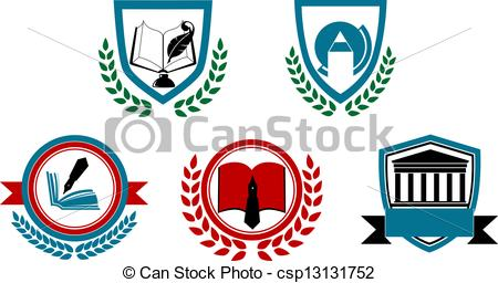 Clipart Vector of Set of abstract university or college symbols.