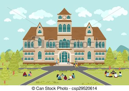 Vector Clip Art of University or college building. Education.