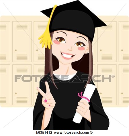 Female College Graduate Clipart.
