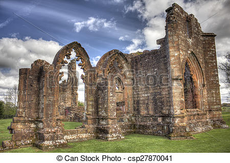 Stock Photo of Lincluden Collegiate Church South View Sunbeams HDR.