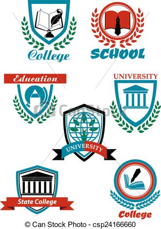 Clip Art Vector of Heraldic symbols for university and college.