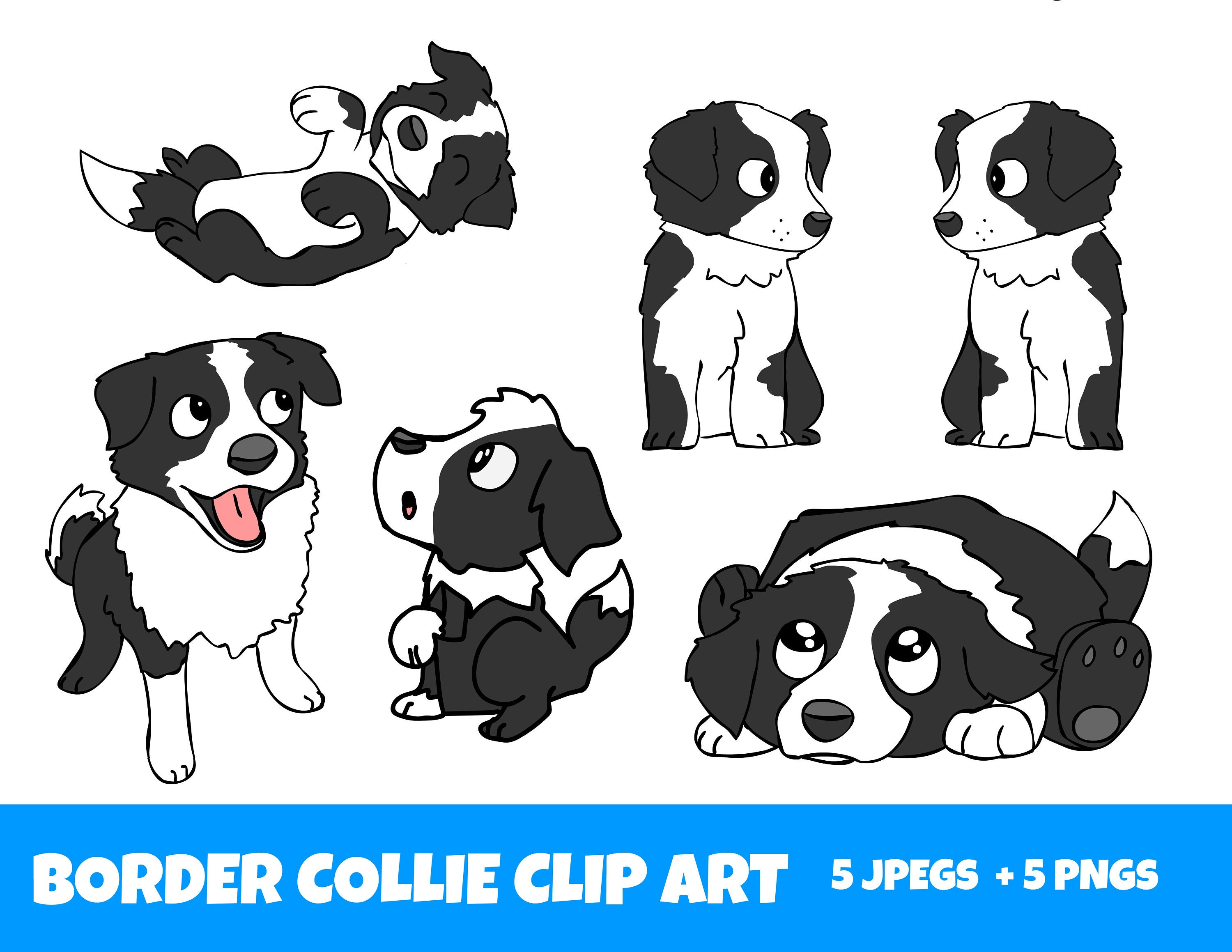 Border Collie Clipart, Cartoon Art Sheep Dog, Commercial Use OK, JPEG and  PNG.