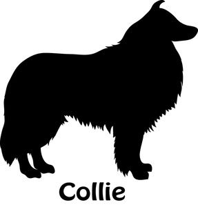 Collie Clipart Image: Silhouette Of A Collie Dog.