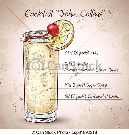 Vector Clip Art of Cocktail John Collins with Jean, Soda, Lemon.