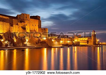 Stock Photo of Twilght over the Chateau Royal and Eglise Notre.