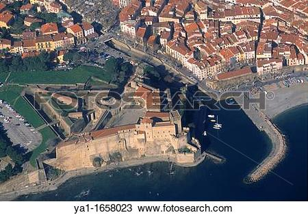 Stock Photo of Palais Royal castle, Collioure village and bay.