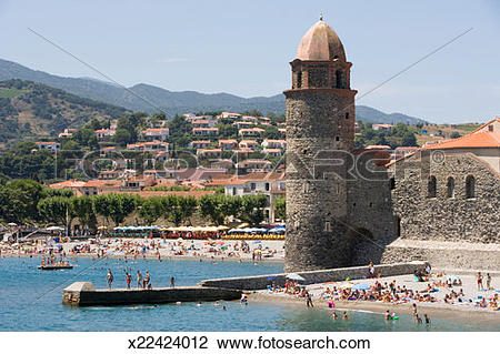 Stock Photo of France, Collioure, public beach around Notre.