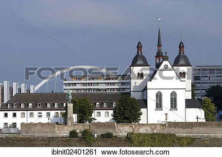 "Stock Photography of ""Church of Alt Sankt Heribert and the Lanxess."