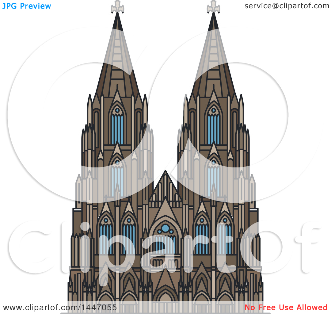 Clipart of a Line Drawing Styled German Landmark, Cologne.