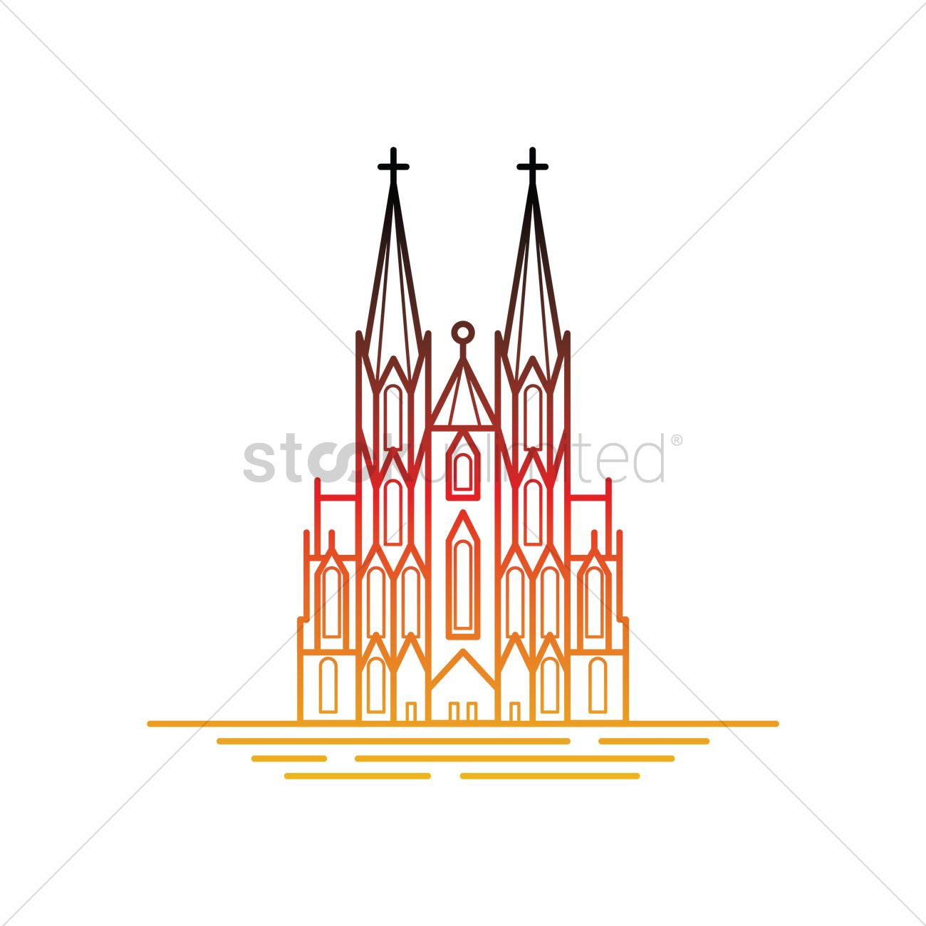 Cologne cathedral Vector Image.