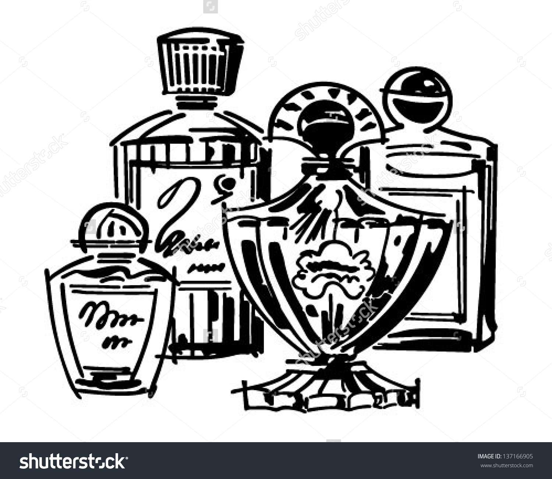 Perfume Cologne Bottles Retro Clip Art Stock Vector 137166905.
