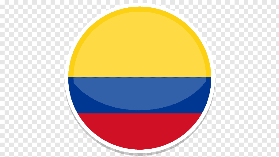 Round yellow, blue, and red striped logo, area symbol yellow.