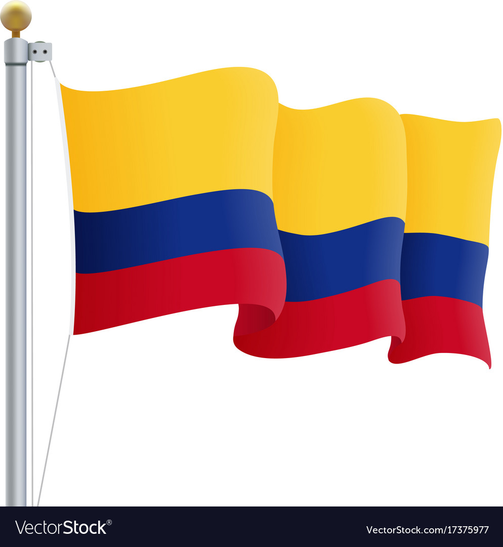 Waving colombia flag isolated on a white.