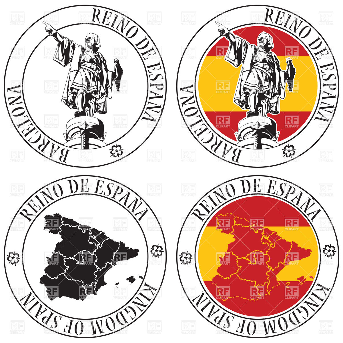 Postal stamp with Spain map and Cristoforo Colombo monument Vector.