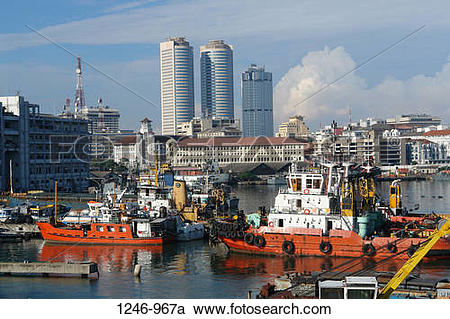 Stock Photography of Port with skyscrapers in the background, Twin.