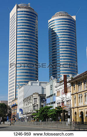 Stock Photograph of Low angle view of skyscrapers, Twin Towers.
