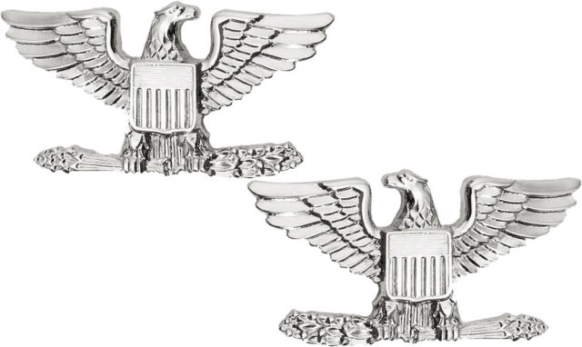 Silver Polished Colonel United States Army Rank Insignia Pin.