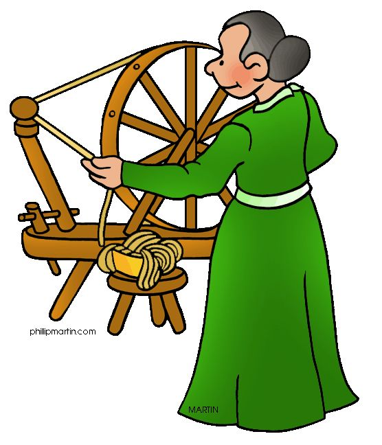 Free Colonial America Clip Art by Phillip Martin, Spinning Wheel.