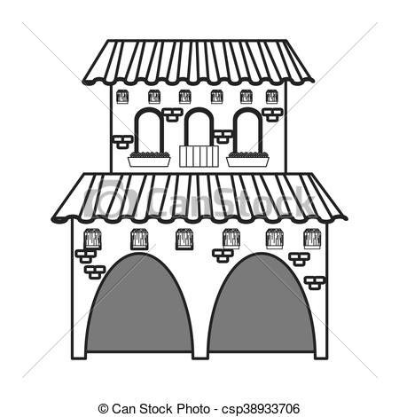 Vector Clipart of spanish colonial architecture icon.