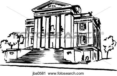 Clipart of colonial building b&w jba0581.
