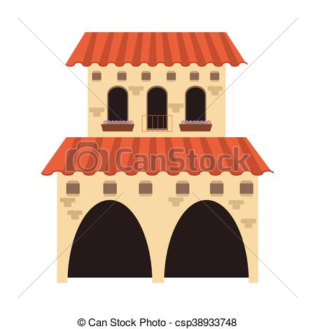 EPS Vector of spanish colonial architecture icon.