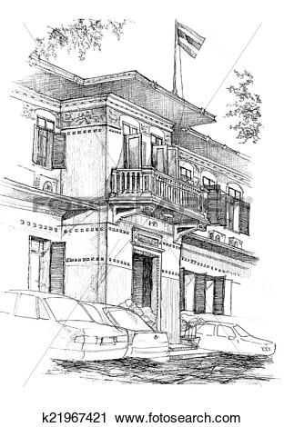 Clipart of colonial building sketch k21967421.
