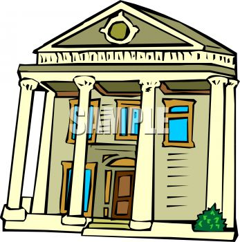Royalty Free Clipart Image: Sothern Style Colonial House with Columns.