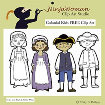 Colonial Kids FREE Clip Art.