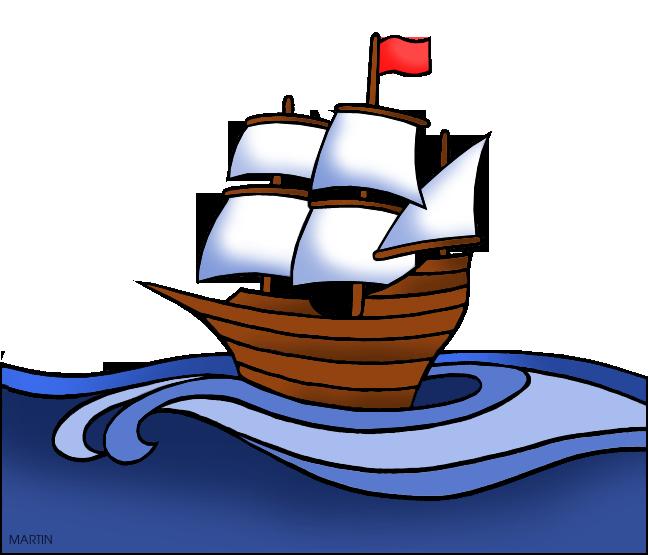 Free Colonial America Clip Art by Phillip Martin, Colonial Ship.