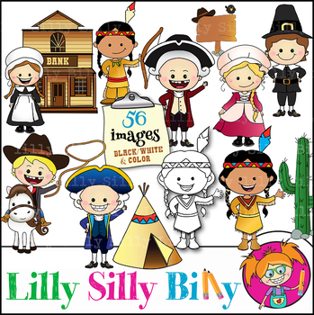 MEGA BUNDLE. Colonial Kids, BLACK AND WHITE/ Color clipart. {Lilly silly  Billy}.