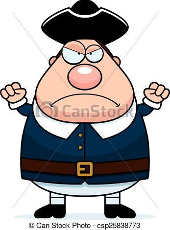 Vector Clip Art of Angry Cartoon Colonial Man.