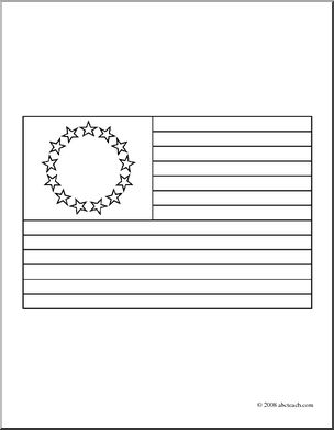 Clip Art: American Colonial Flag (coloring page) I abcteach.com.