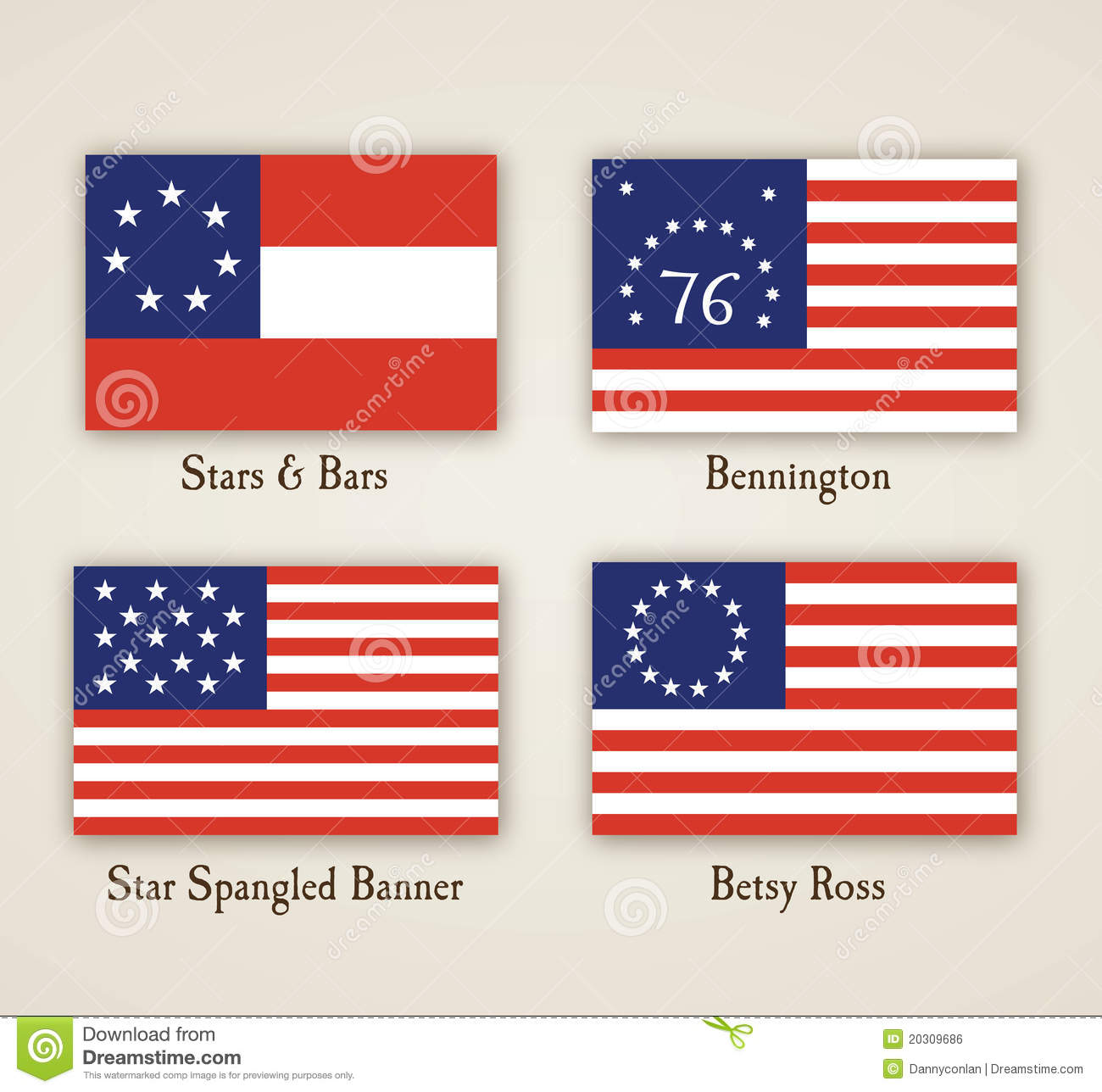 Early American Flags stock vector. Illustration of american.