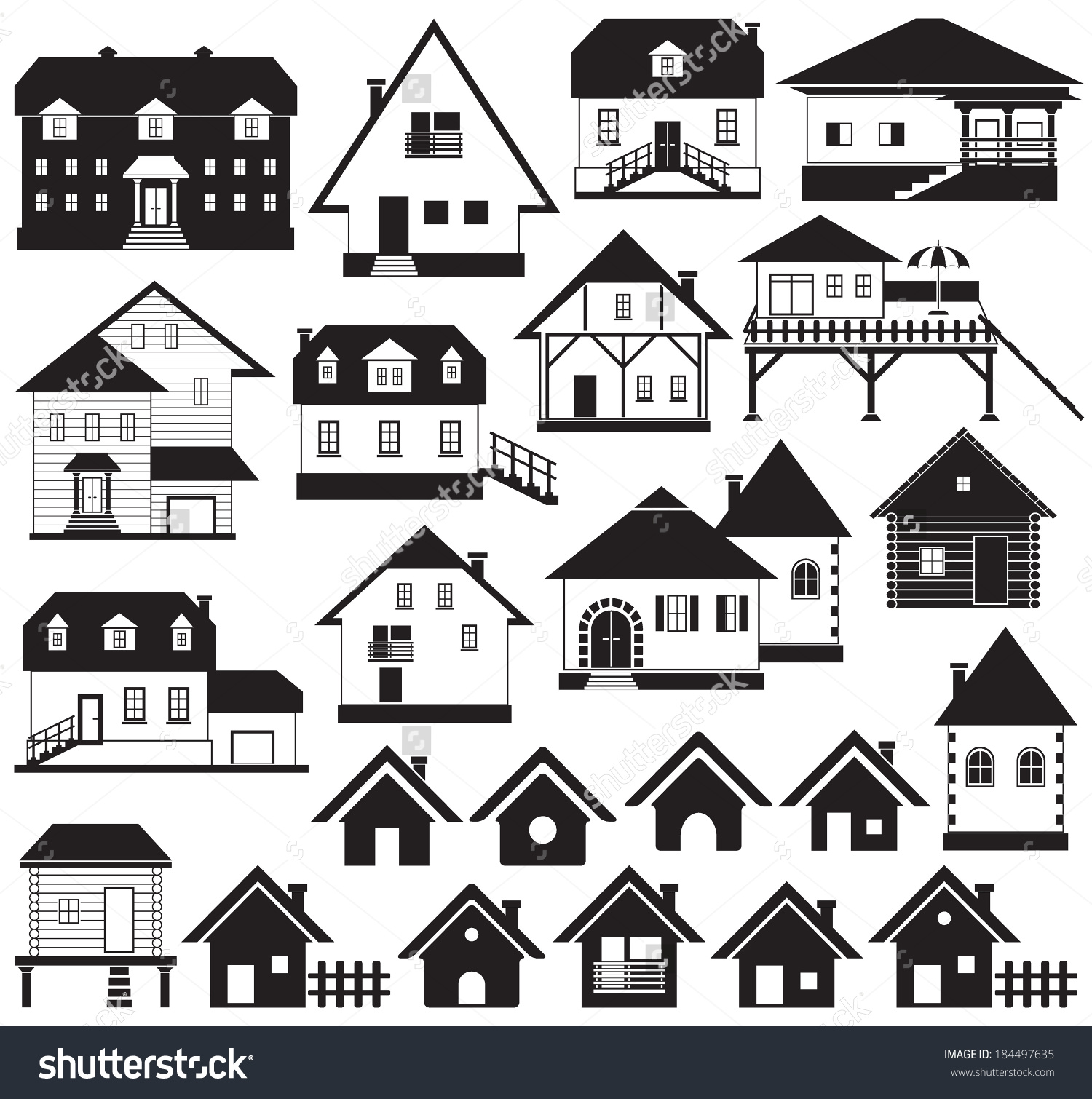 Collection Various Buildings Houses Icons Set Stock Vector.