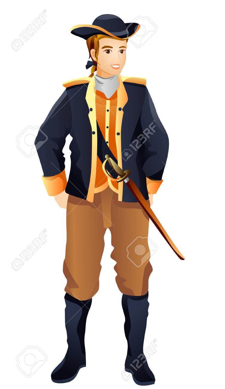 Colonial Man Clipart.