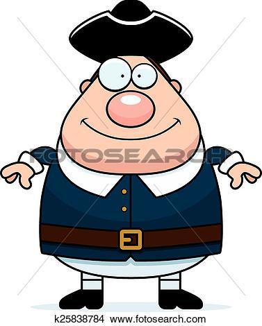 Clipart of Happy Cartoon Colonial Man k25838784.