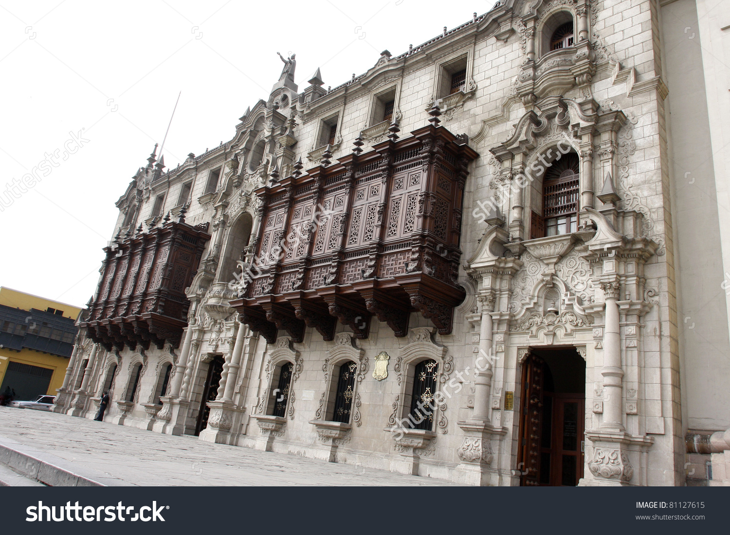 Colonial Palace With Balcony In Lima Peru Stock Photo 81127615.