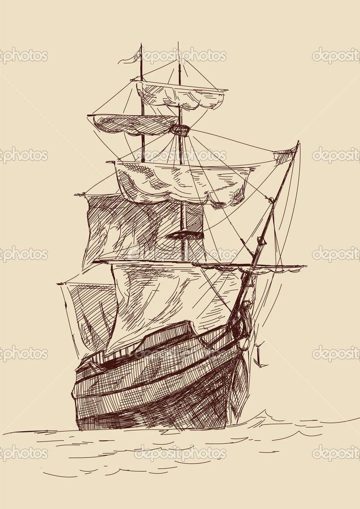 old time sailing ship clip art.