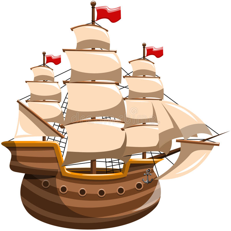 Colonial Ship Stock Illustrations.