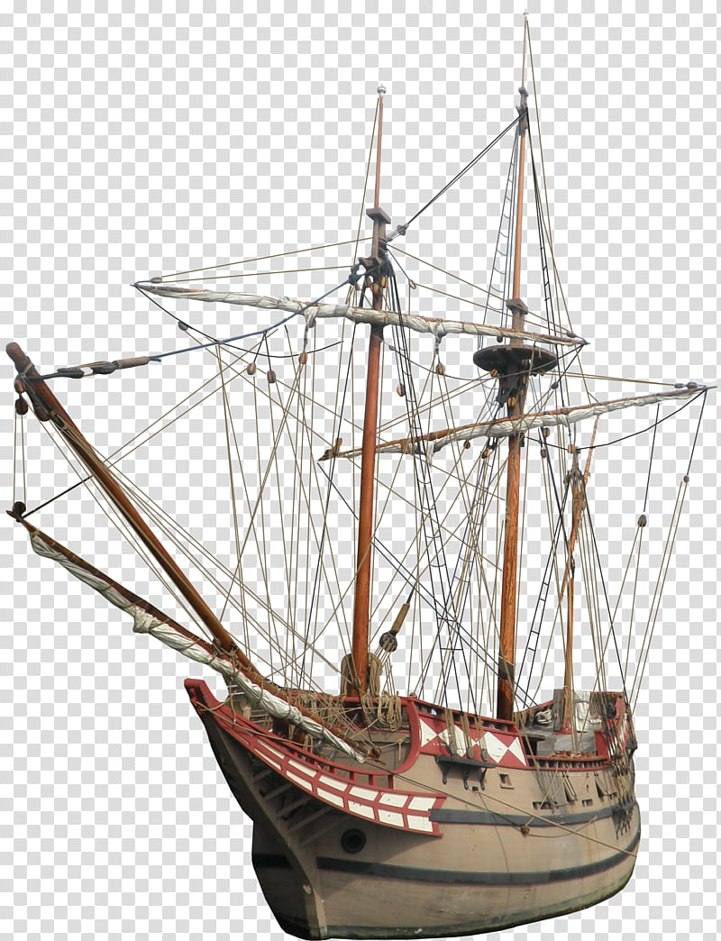 Colonial Ship, brown and white galleon boat illustration.